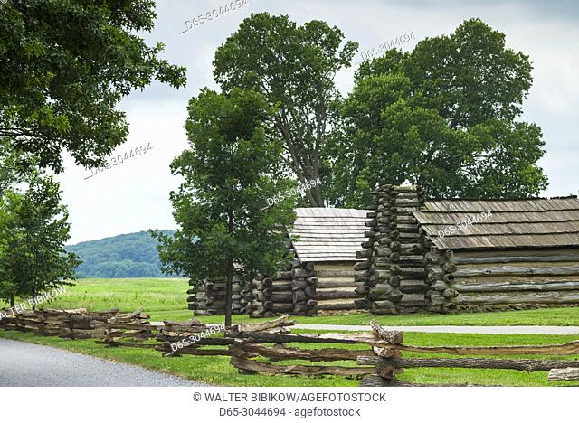 USA, Pennsylvania, King of Prussia, Valley Forge National Historical Park, Battlefield of the American Revolutionary War, Muhlenberg Brigade wooden cabins