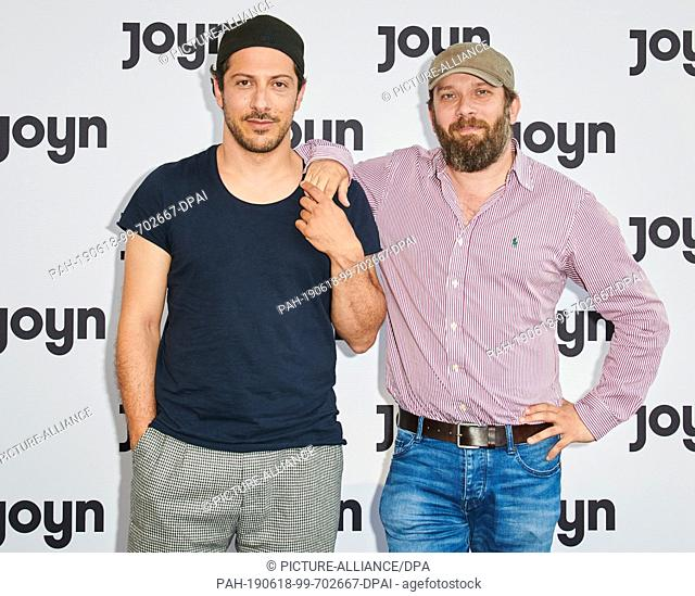 18 June 2019, Berlin: The actors Fahri Yardim (l) and Christian Ulmen come to the E-Werk for the launch of the streaming service Joyn by ProSiebenSat