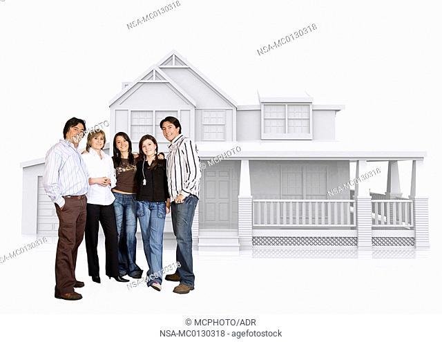 happy family home illustration
