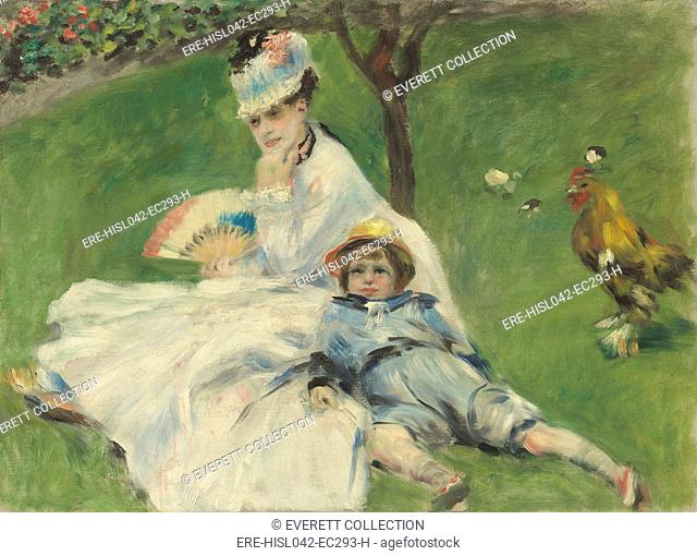 Madame Monet and Her Son, by Auguste Renoir, 1874, French impressionist painting, oil on canvas. Renoir was close to Monet and sometimes they worked together