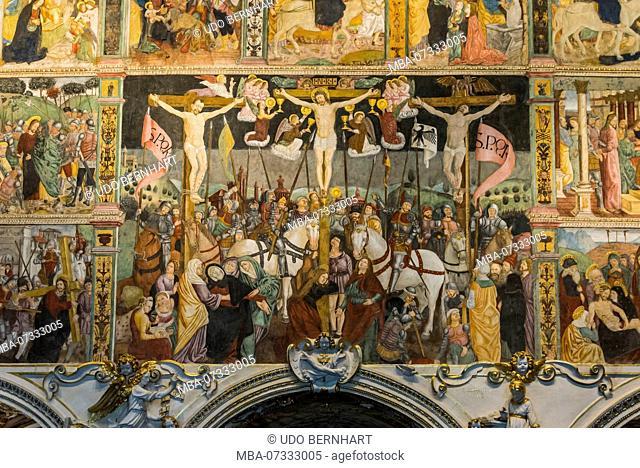 Renaissance frescoes in the church of Santa Maria delle Grazie, Bellinzona, Ticino, Switzerland