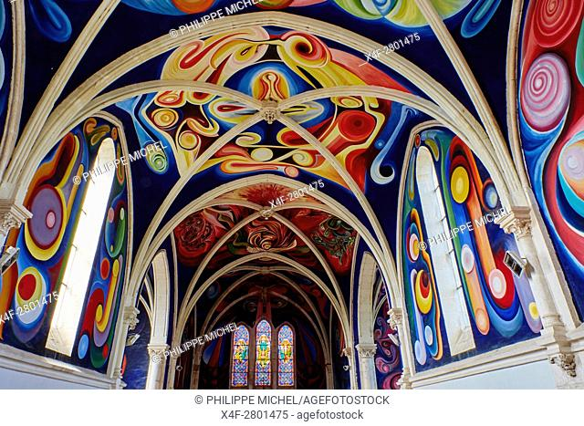 France, Indre, Le Menoux, the church, inside of the church covered with the frescoes by the Bolivian painter Jorge Carrasco