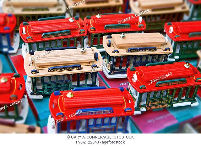 Toy streetcars sold in Chinatown San Francisco, CA