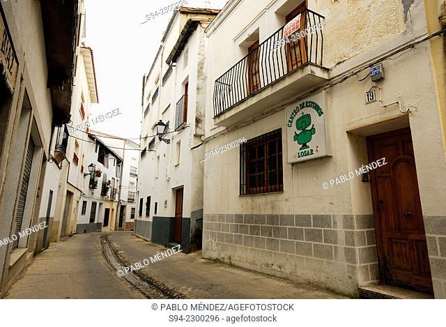 View of a street in Losar de la Vera, Caceres, Spain
