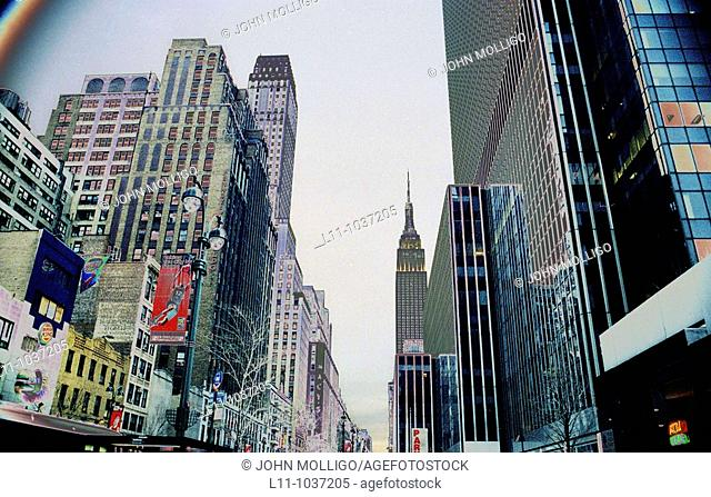 34th street, New York City, looking east, solarized