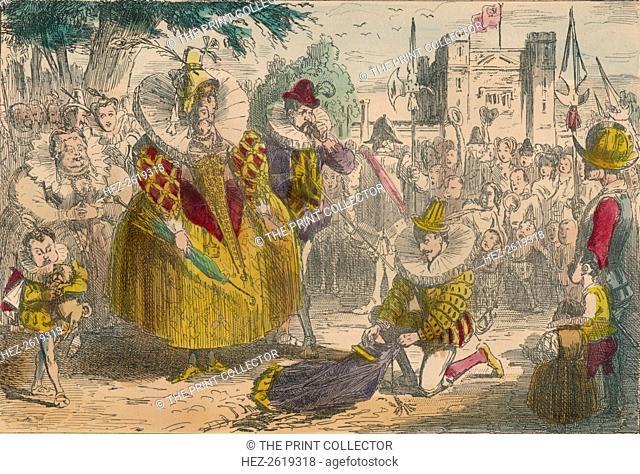Queen Elizabeth and Sir Walter Raleigh, 1850. Artist: John Leech