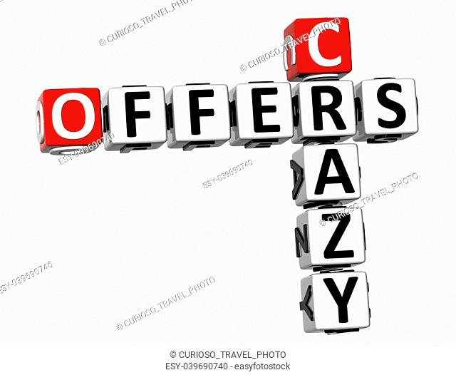 3D Crazy Offers Crossword on white background