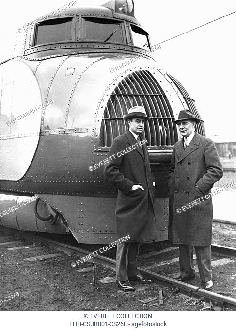 Averill Harriman and Charles Kettering next to the new Union Pacific 120 mile an hour train. Feb.12, 1934. Harriman was Chairman of the Union Pacific Railroad...