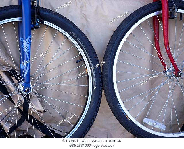 Wheels of bicycle in Coupeville, Washington, United States