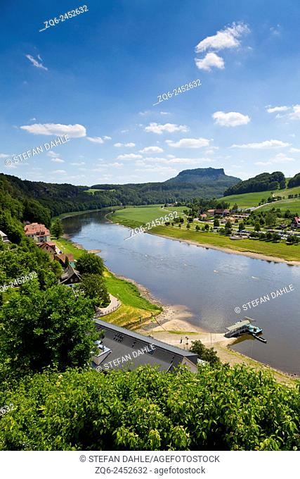 The River Elbe in Rathen,Saxony,Germany