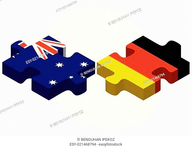 Australia and Germany Flags in puzzle