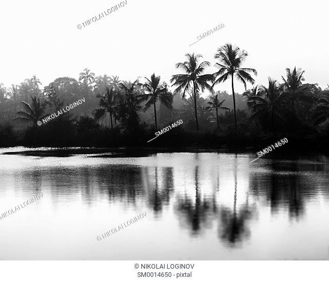 Horizontal black and white Indian landscape bokeh vignette background backdrop