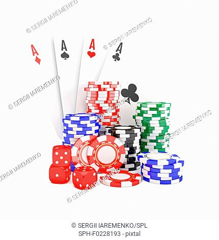Poker chips, cards and dice, illustration