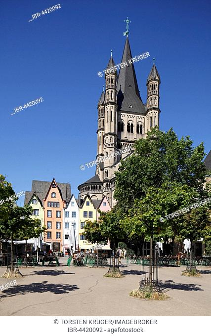 Colourful houses at fish market and Great St. Martin Church, Cologne, North Rhine-Westphalia, Germany