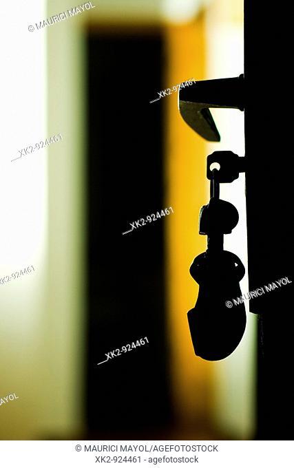 contraluz de las llaves en la puerta de casa