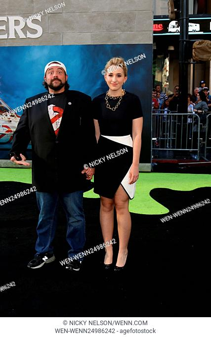Los Angeles premiere of 'Ghostbusters' - Arrivals Featuring: Kevin Smith, Harley Quinn Smith Where: Los Angeles, California