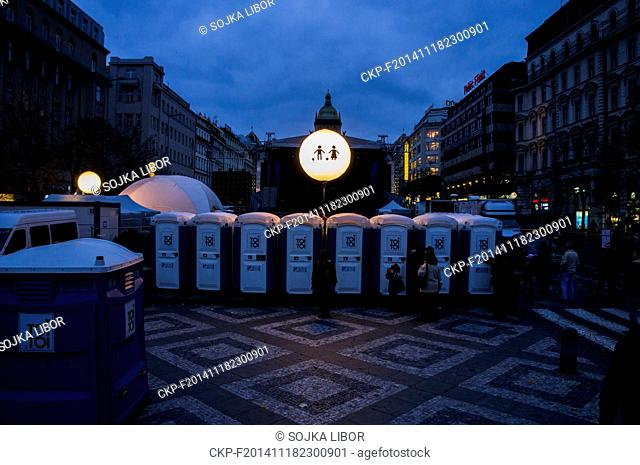 Preparations for the evening 'Again 89' concert at Wenceslas Square in Prague, Czech Republic, on Monday, November 17, 2014. (CTK Photo/Libor Sojka)