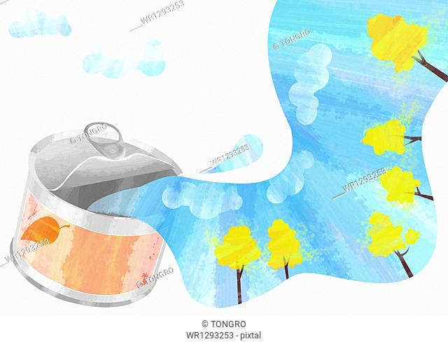 illustration of water pouring from a canned food