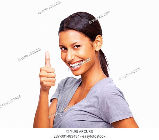 Portrait of a pretty young female gesturing thumbs up symbol isolated on white background