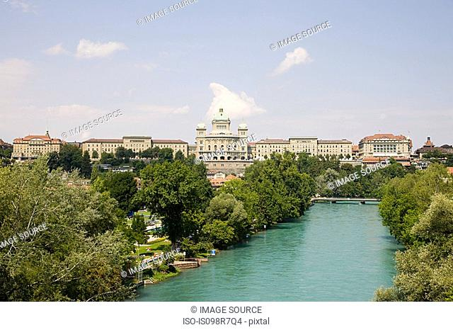 Federal building and river in berne