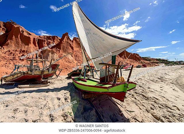 The name of this typical fishing boat is Jangada. Canoa Quebrada (Broken Canoe) Beach, CE, Brazil
