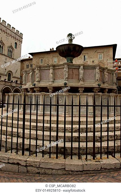 Famous fountains in the square in the center of Perugia, Italy