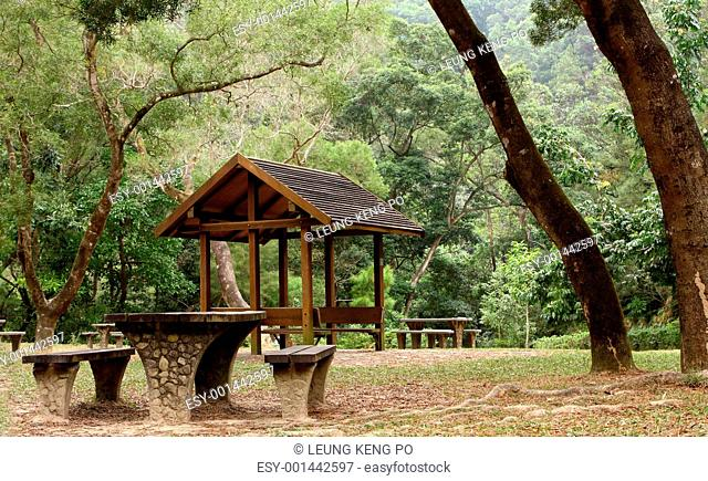 Picnic table and pavilion at countryside