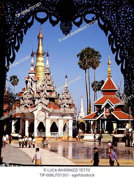 Tazaungs pavilions in the Shwedagon pagoda, Yangon, Burma
