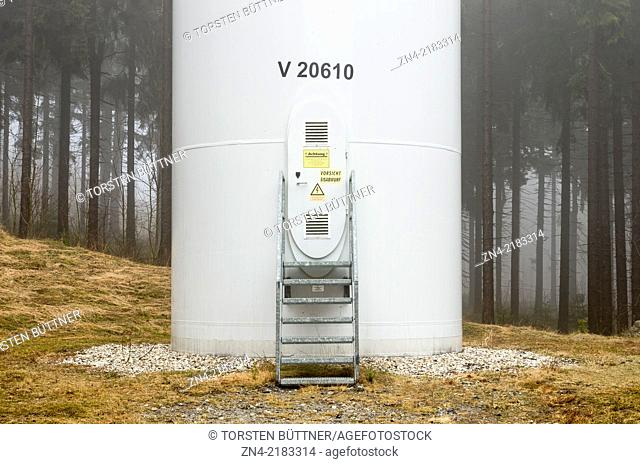 Base of a Vestas V90 Wind Turbine Operated by the Upper Austrian Energie AG in Sternwald Wind Farm. Austria