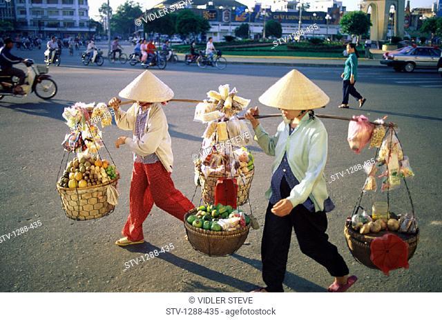 Asia, Baskets, City, Conical, Fruits, Hats, Ho chi minh, Holiday, Landmark, Street, Tourism, Travel, Vacation, Vendors, Vietnam