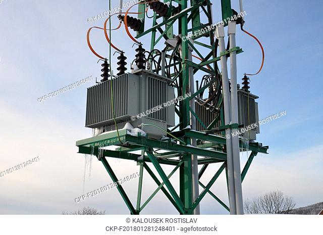 High voltage transformers for low voltage in winter, Czech Republic, 2018. (CTK Photo/Rostislav Kalousek)