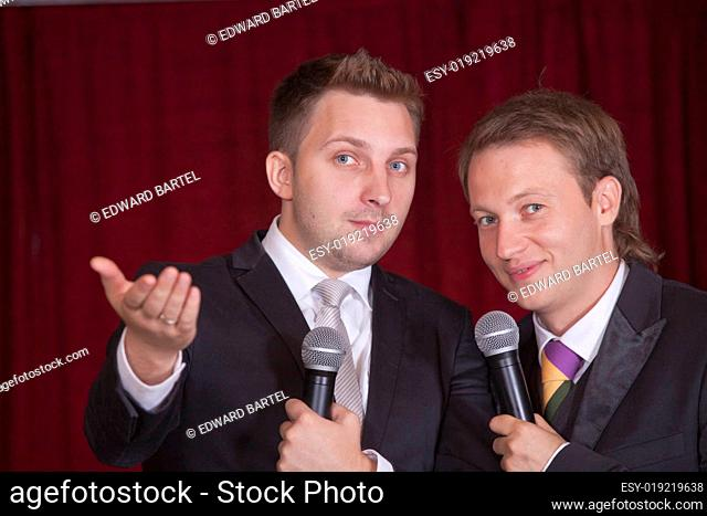 two comedians on stage