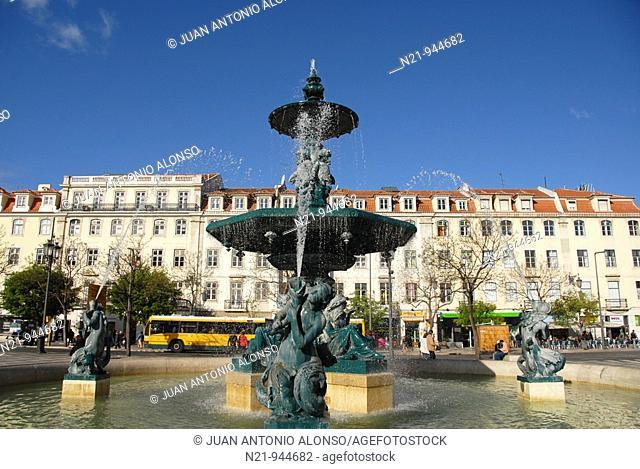 One of the two fountains on Praça do Rossio, also called Praça Dom Pedro IV. Baixa-Restauradores area, Lisbon, Portugal