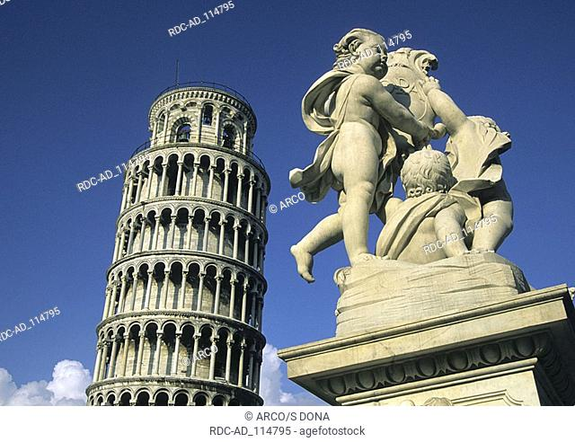 Sculpture and Leaning Tower of Pisa Tuscany Italy