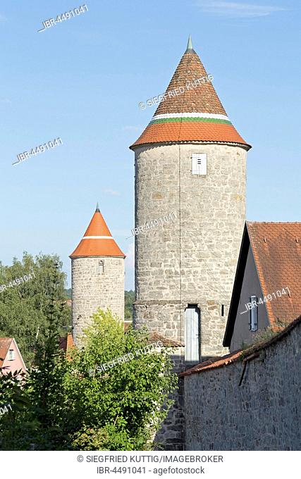 City wall with Hertelsturm, at back Krugsturm, Dinkelsbühl, Middle Franconia, Bavaria, Germany