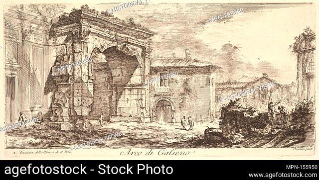 Arch of Galienus. 1. Façade od the Church of S. Vito (Arco di Galieno. 1. Facciata della Chiesa di S. Vito). Series/Portfolio: Alcune Vedute di Archi Trionfali...