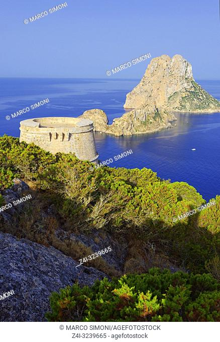 Torre des Savinar and Es Vedra Islands in background, Ibiza, Balearic Islands, Spain,