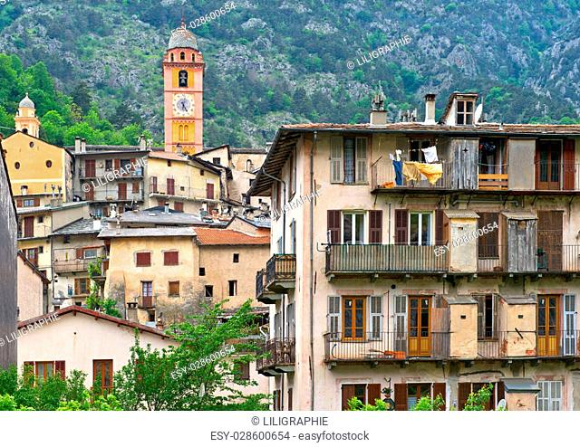 Picturesque Tende village in southeastern France. Old buildings