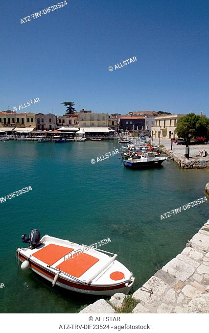 SPEED BOAT & HARBOUR BUILDINGS; RETHYMNON, CRETE, GREECE; 02/05/2014