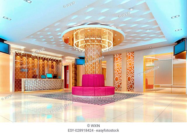 modern design club of corridor, hall. 3D render