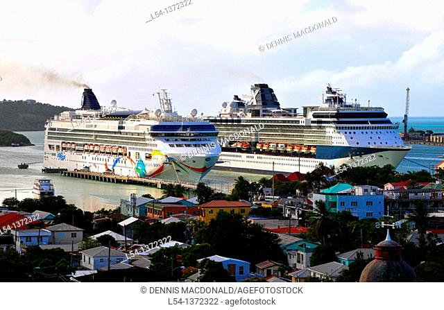 Cruise Ships in Harbor St  Johns Antigua Caribbean Cruise NCL