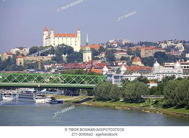 Slovakia, Bratislava, skyline, Danube river, Castle,