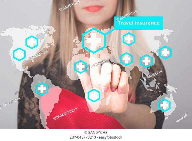 Woman pushing button with cross map travel insurance web icon. business, technology and internet concept in tourism