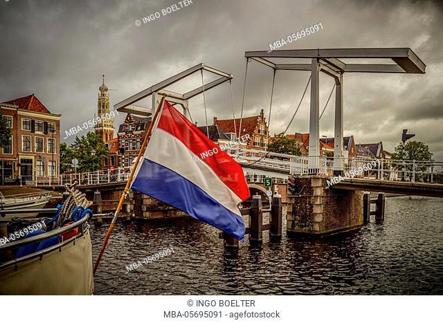 The Netherlands, Haarlem, canal, flag