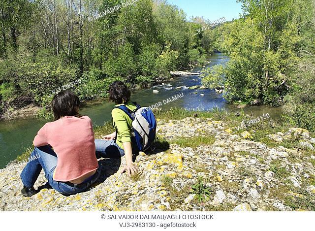 river landscape, river fluvia, location esponella, girona, catalonia