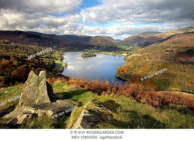 Grasmere - view looking from Loughrigg Terrace - November . Lake District - England - UK