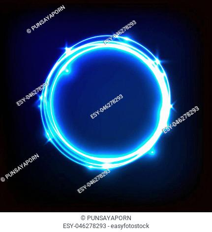 Abstract glowing blue background with circles, stock vector