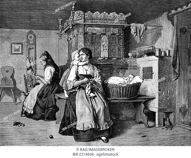 Sunday afternoon in the parlour in Flanders, Belgium, historical woodcut, circa 1888