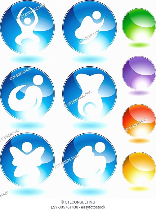 Zen Stick Figure Crystal Icon Set