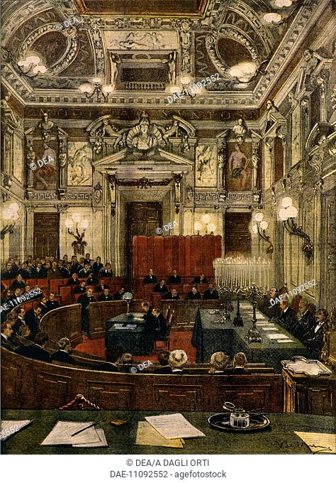 Milan's new City Council in session. Illustrator Achille Beltrame (1871-1945), from La Domenica del Corriere, 1900